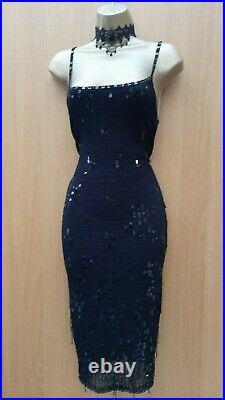 UK 10-12 KAREN MILLEN 2 Black Knit Crochet Sequin Beaded Vintage Wiggle Dress
