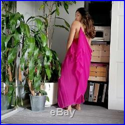 Upcycled vintage bright pink slip dress with hand dyed lace SIZE UK 6-8