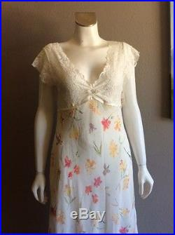 VALENTINO VINTAGE 1990s 90s SEXY SHEER FLORAL FLOWER GRUNGE SLIP DRESS L