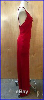 VALENTINO VTG Red Deep V Embellished Beaded Neck Sleeveless Maxi Slip Dress 42/6