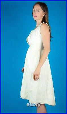 VICTORIAN Bustle Vtg 1870s 1880s Cotton White Bustier Dress Slip XXS/XS