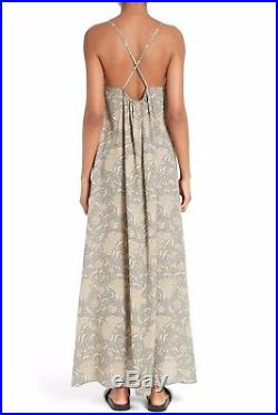 VINCE Natural Beige Vintage Floral Print Silk Slip On Open Back Strap Dress XS