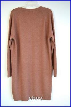 VINCE Vintage Rose Wool CASHMERE Soft Deep V-Neck Raglan Sweater Dress LARGE NWD