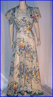 VINTAGE 1930s OFF-WHITE FLORAL CREPE GOWN WITH JACKET AND SLIP 3 PC. BEAUTY