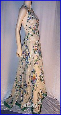 VINTAGE 1930s OFF WHITE FLORAL CREPE GOWN WITH JACKET AND SLIP 3 PC. BEAUTY