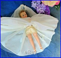 VINTAGE 1950s MADAME ALEXANDER CISSETTE DOLL tagged dress BRIDE veil SLIP shoes