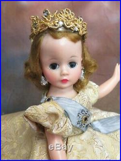 VINTAGE 1950s MADAME ALEXANDER CISSETTE DOLL tagged dress QUEEN with CROWN slip
