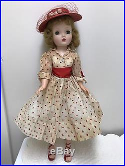 VINTAGE 1956 CISSY DOLL With ORGANDY FLOCKED RED POLKA DOT DRESS HAT SLIP SHOES
