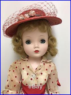 VINTAGE 1956 CISSY DOLL With ORGANDY FLOCKED RED POLKA DOT DRESS HAT SLIP SHOES