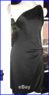 VINTAGE 80s SAINT LAURENT RIVE GAUCHE DRAPED GRECIAN ONE SHOULDER SLIP DRESS YSL