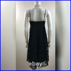 VINTAGE 90's Betsey Johnson NY Size 8 Black Floral Lace Pleated Goth Prom Dress