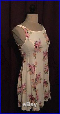 VINTAGE 90s BETSEY JOHNSON CREAM Pink FLORAL Rose PRINT SLIP Babydoll DRESS S
