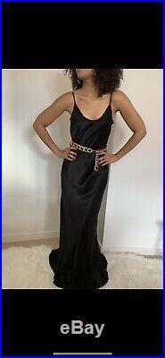 VINTAGE 90s GHOST Black Long Dress Slip Dress