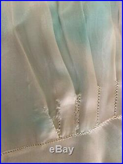 VINTAGE BEST & CO NY BLUE/IVORY SATIN SLIP DRESS WithSOUTACH TRIM SZ XS 1940'S