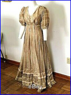 VINTAGE EARLY 1800s'PRAIRIE' STYLE DRESS-FULL LENGTH- SLIP ATT. FAWN HUED-S