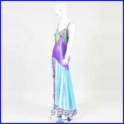 VINTAGE Gianni Versace Couture Purple Blue & Green Silk Lace Slip Dress SZ 40