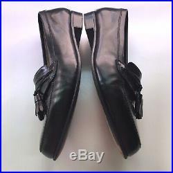 VINTAGE Mens Bally Black Leather Loafers US 10 M Tasseled Slip On Dress Shoes