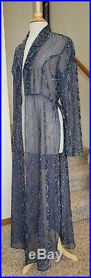 VINTAGE NORMA KAMALI 80s Blue Sheer Long Dress/Coat with Black Slip Dress Size S