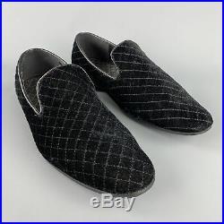 VINTAGE Size 9 Black Quilted Velvet Slip On Loafers