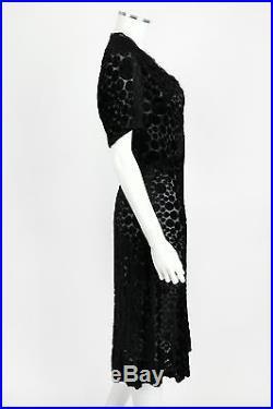 VINTAGE c. 1930's BLACK POLKA DOT DEVORE VELVET SLIP WIGGLE DRESS Size M