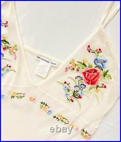 VIVIENNE TAM 90s Vintage Mesh Floral Embroidery Slip Dress