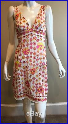 VIntage EMILIO PUCCI Floral Print Formfit Rogers Semi-Sheer Slip Dress Size 2