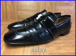 VNTG GUCCI Black Leather GG LOGO Loafer Slip On Sz 9 Men's Made In Italy LE