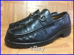 VNTG GUCCI Black Leather Horsebit Loafer Slip On Sz 8 Men's Made In Italy LE