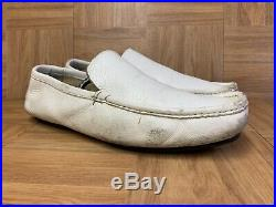 VNTG Gucci Slip On Loafers White Leather MOC Men's Shoe Made In Italy Sz 43