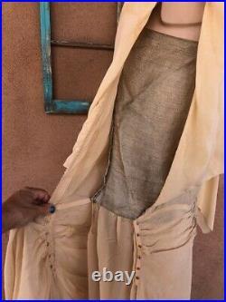 VTG 1920s Yellow Chiffon Flapper Dress Drop Waist Silver Slip Sz S AS IS
