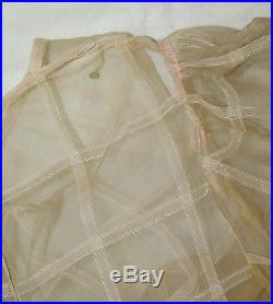 VTG 1930's Sheer ORGANDY Wedding Gown BIAS CUT Dress Train withSlip BOUQUET MUSEUM