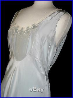 Vtg 1940's Yolande Silky Rayon Satin Bias Dress/nightgown Ballet M-l Bust 38