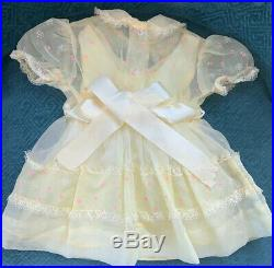VTG 1950/60s Miss Penny Sheer YellOw Baby Dress Sz 2 Flocked Tulle lace Slip 2pc