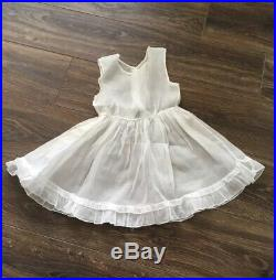 VTG 1950s Girls White & Pink ORGANDY Party DRESS & RUFFLE Slip A CARI CLASSIC 6