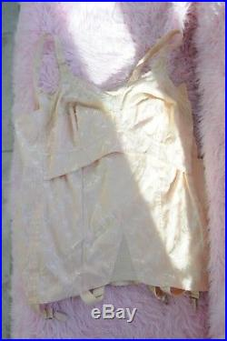 VTG 1950s RARE Beige Full Body Lacy Girdle Corset Slip Dress w 6 Garters sz 46