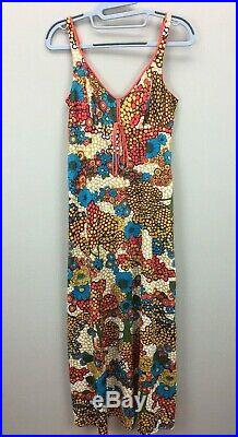 VTG 1960's-70's OLGA Bright Floral Nightgown Slip Dress sz 32 Hippie Boho