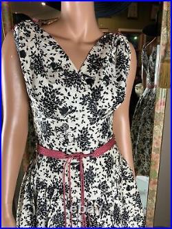 VTG 1960's Black & White Print Special Occasion Dress Full Crinoline Slip SZ 11