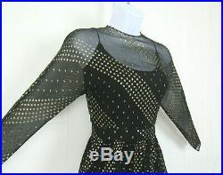 VTG 1960s 70s RUBEN PANIS BLACK CHIFFON DRESS & SLIP GOLDEN METALLIC ACCENTS