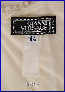 VTG 1990s GIANNI VERSACE IVORY SLEEVELESS GROSSGRAIN RUFFLE DETAIL SLIP DRESS 44