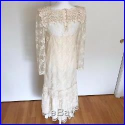 VTG 20s style 80s Gatsby Wedding dress, white lace, Old Hollywood, sheer lace, slip