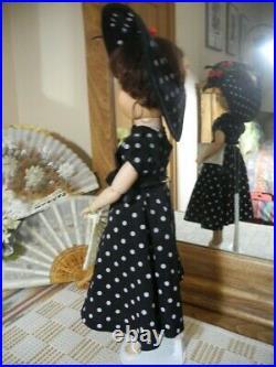 VTG 2S Uneeda Dollikin Brunette Polka Dot Dress Hat Slip Panty Shoes Hose 19