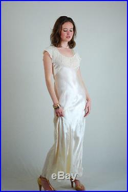 VTG 30s Ecru Delicate Draped GODFRIED Wedding Lace Maxi Slip Dress XS S