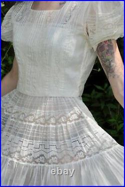 VTG 30s Ivory White Organza Dress Matching Half Slip Lace Inserts Puff Sleeve XS