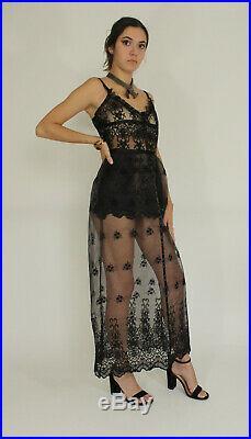 VTG 40's Black CHANTILLY Burnt Velvet FLORAL LACE Party Flapper Slip Dress xs/s