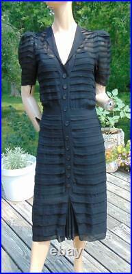 VTG 40S BLACK SHEAR PUFF SLEEVE DRESS & CHARNALEA BRAND RAYON SLIP sm