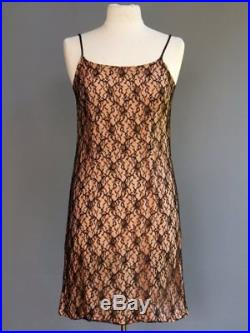 VTG 50s 60s Black Chantilly Lace Nude Illusion Betty Page Pin Up Slip Dress M