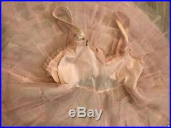 VTG 50s little girl toddler 4 pink full circle skirt ruffled dress or slip