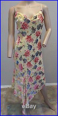 VTG 90's Betsey Johnson Floral Bouquets Velvet Burnout Grunge Slip Dress 6