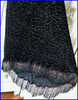 VTG 90s BETSEY JOHNSON BLACK RAYON SILK SLIP DRESS VELVET BURNOUT BEAD FRINGE 8