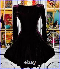 VTG 90s Betsey Johnson Dress CRUSHED VELVET Eggplant SKATER Fit & Flare M 8 10